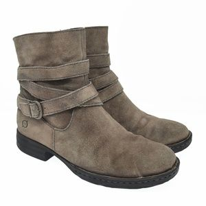 BORN Sz 7M Gray Leather Zip Up Ankle Boots